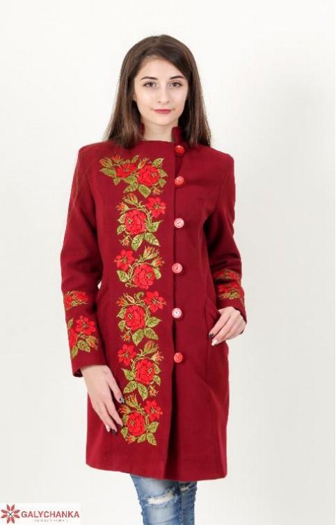 Купити пальто з вишивкою Трояндове мереживо (вишневе)в Україні від Галичанка фото 1