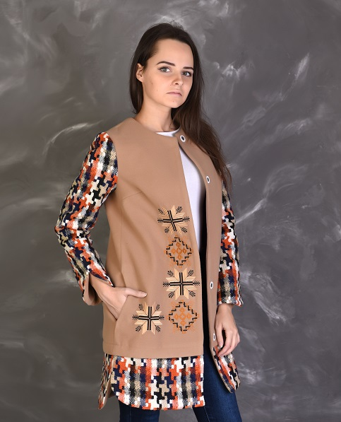 Купити пальто з вишивкою Зоряна (комбіноване)в Україні від Галичанка фото 1