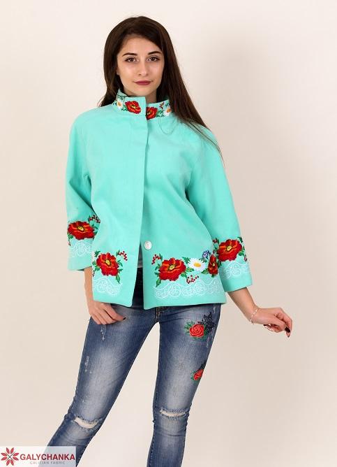 Купити жіночий жакет з вишивкою Мереживо (ментол) в Україні від Галичанка фото 1