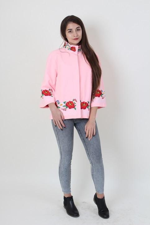 Купити жіночий жакет з вишивкою Мереживо (рожеве) в Україні від Галичанка фото 1