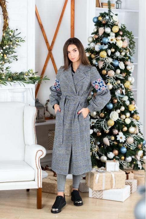 Купити пальто з вишивкою Парижанка (білий)в Україні від Галичанка фото 1