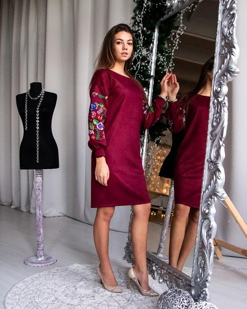 Купити вишиту сукню Олівія (вишнева) в Україні від виробника Галичанка фото 1