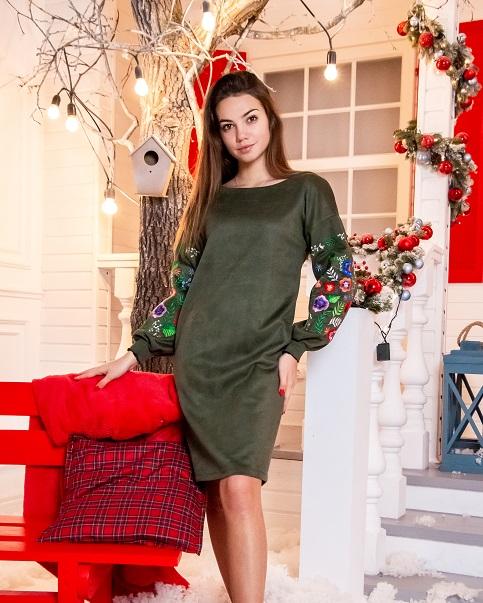 Купити вишиту сукню Олівія (оливка) в Україні від виробника Галичанка фото 1