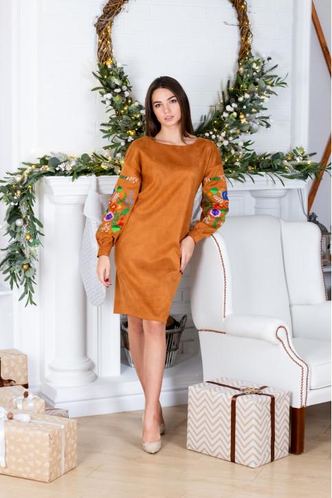 Купити вишиту сукню Олівія (золота) в Україні від виробника Галичанка фото 1
