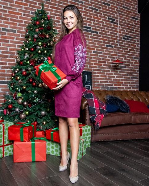 Купити вишиту сукню Скіфія (вишнева) в Україні від виробника Галичанка фото 1