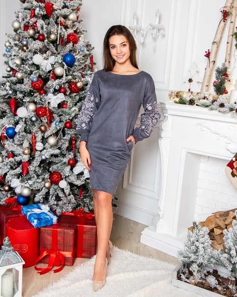 Купити вишиту сукню Скіфія (сіра) в Україні від виробника Галичанка фото 1