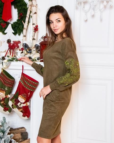 Купити вишиту сукню Скіфія (оливка) в Україні від виробника Галичанка фото 1