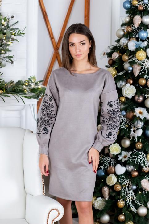 Купити вишиту сукню Скіфія (сіра з чорним) в Україні від виробника Галичанка фото 1