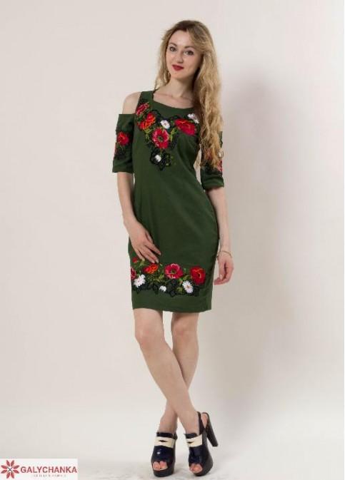 Купити вишиту сукню Афіна (зелена) в Україні від виробника Галичанка фото 1