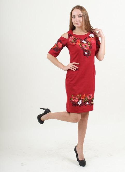 Купити вишиту сукню Афіна (вишневе) в Україні від виробника Галичанка фото 1
