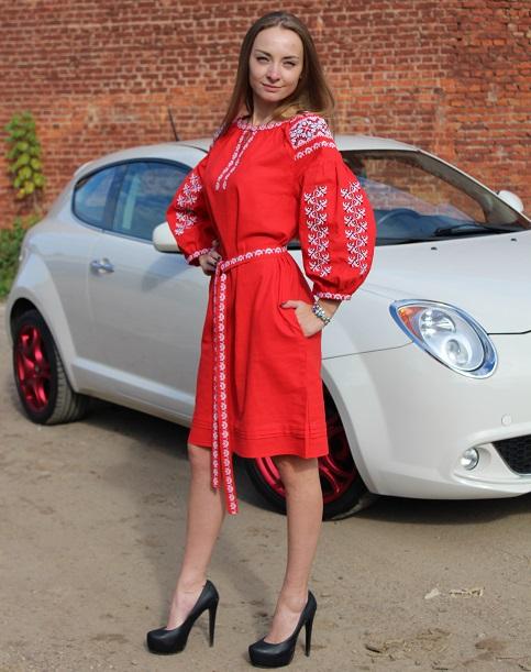 Купити вишиту сукню Азалія (червона) в Україні від виробника Галичанка фото 1