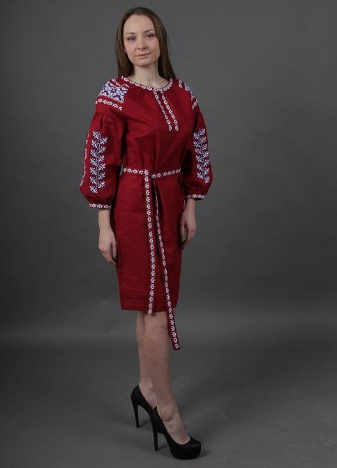Купити вишиту сукню Азалія (вишневе) в Україні від виробника Галичанка фото 1