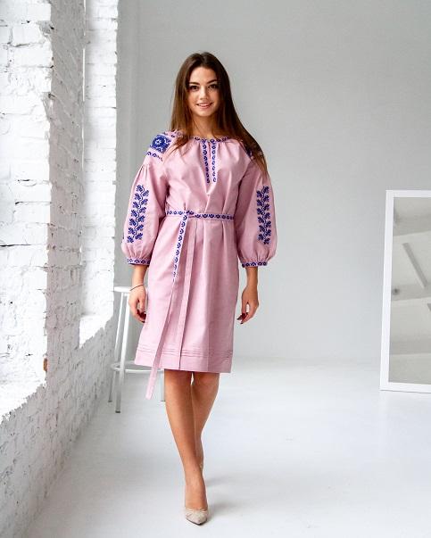 Купити вишиту сукню  Азалія  рожева   в Україні від виробника Галичанка фото 1