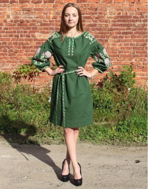 Купити вишиту сукню Цвіт троянди (зелена) в Україні від виробника Галичанка фото 1