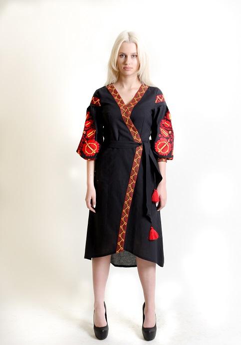 Купити вишиту сукню Дерево життя (чорна) в Україні від виробника Галичанка фото 1
