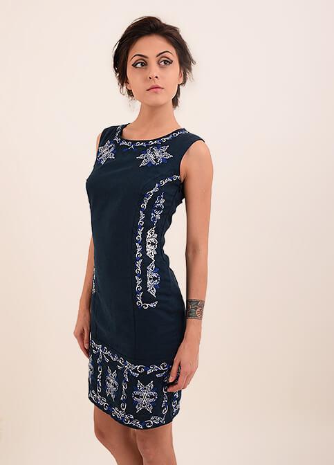 Купити вишиту сукню Ефект (синя) в Україні від виробника Галичанка фото 1