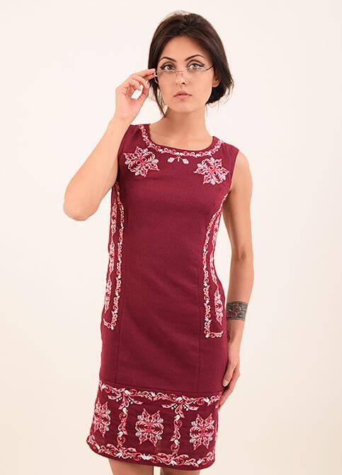 Купити вишиту сукню Ефект (вишнева) в Україні від виробника Галичанка фото 1