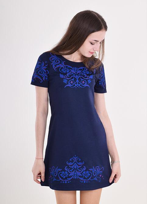 Купити вишиту сукню Елегія (синя) в Україні від виробника Галичанка фото 1