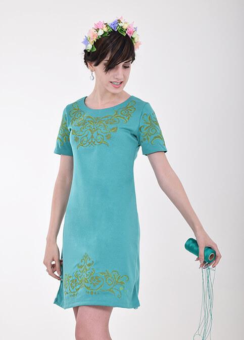 Купити вишиту сукню Елегія (зелене) в Україні від виробника Галичанка фото 1