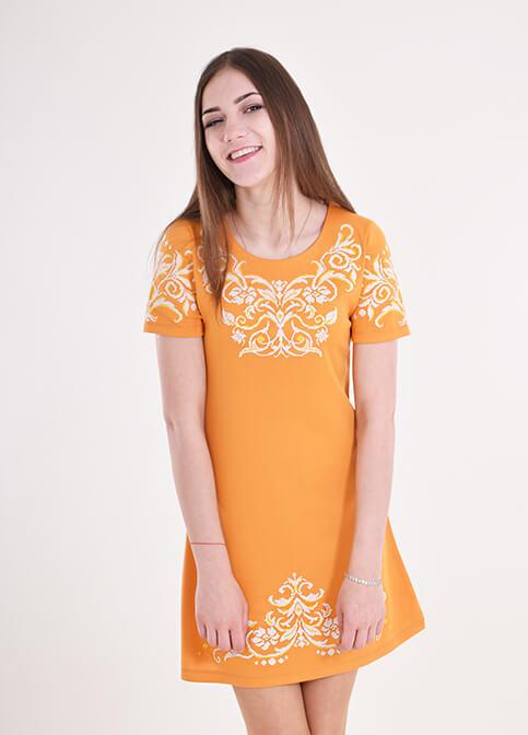 Купити вишиту сукню Елегія (оранжева) в Україні від виробника Галичанка фото 1