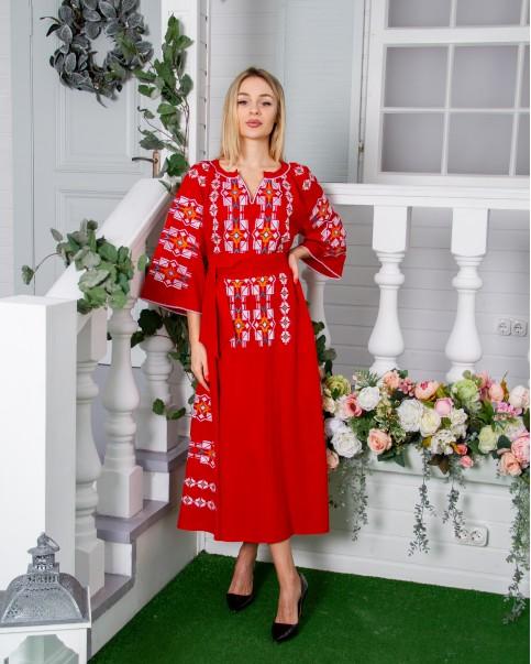 Купити вишиту сукню  Геометрія (червона) в Україні від виробника Галичанка фото 1