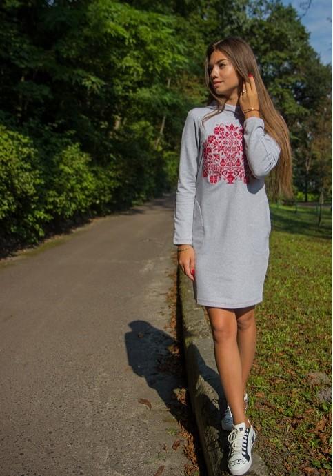 Купити вишиту сукню Живиця (сіра з червоним) в Україні від виробника Галичанка фото 1