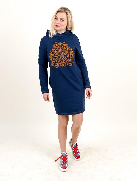 Купити вишиту сукню Живиця (синя з золотом) в Україні від виробника Галичанка фото 1