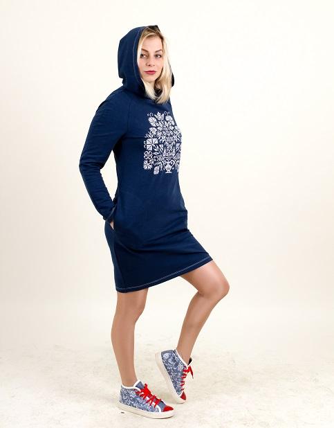 Купити вишиту сукню Живиця (синя з білим) в Україні від виробника Галичанка фото 1