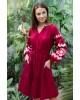 Купити вишиту сукню Христина вишнева з кораловим в Україні від виробника Галичанка фото 3
