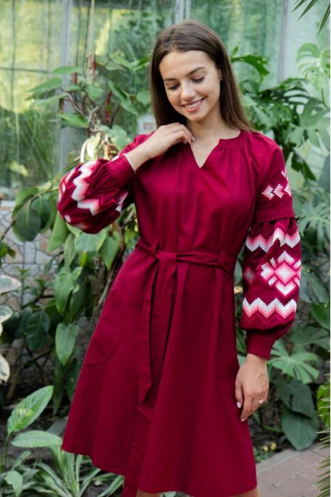 Купити вишиту сукню Христина вишнева з кораловим в Україні від виробника Галичанка фото 1
