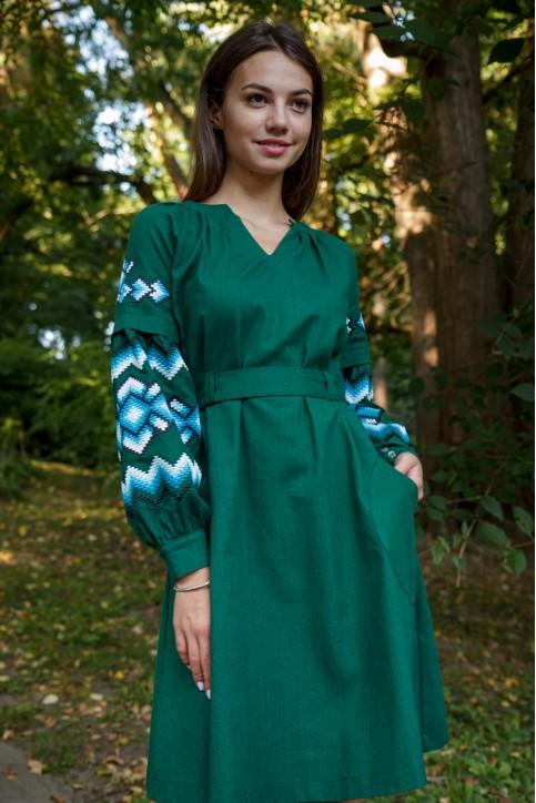 Купити вишиту сукню Христина (т. зелена з голубим) в Україні від виробника Галичанка фото 1