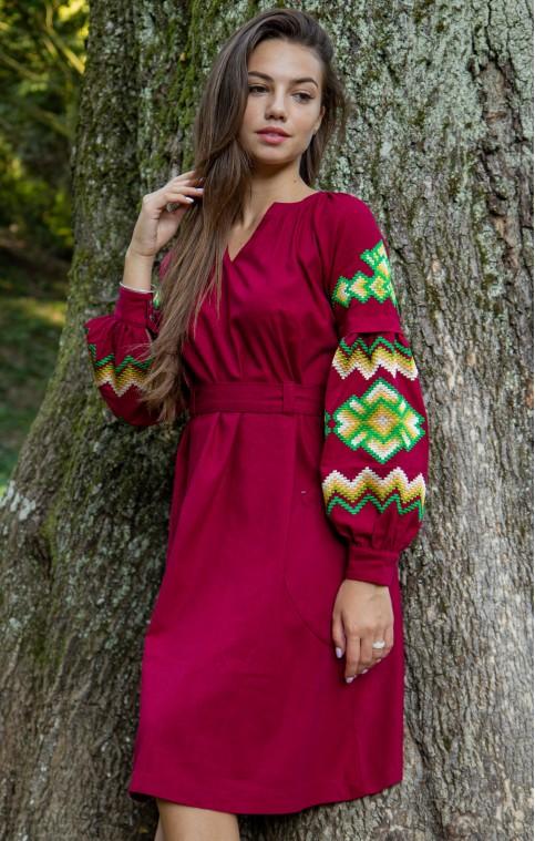 Купити вишиту сукню Христина (вишнева з зеленим) в Україні від виробника Галичанка фото 1