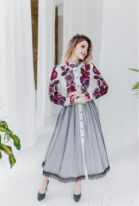 Купити вишиту сукню Жанетта (біла з рожево-чорним) в Україні від виробника Галичанка фото 1
