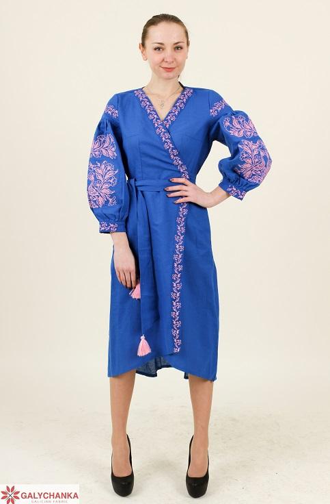 Купити вишиту сукню Ява (електрик) в Україні від виробника Галичанка фото 1
