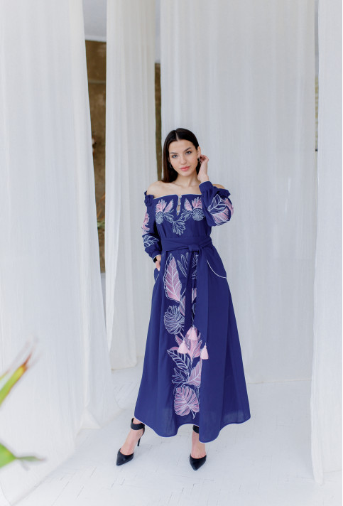Купити вишиту сукню Княжна (синя) в Україні від виробника Галичанка фото 1