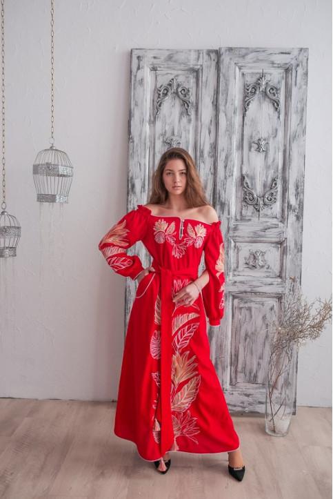 Купити вишиту сукню Княжна (червона) в Україні від виробника Галичанка фото 1