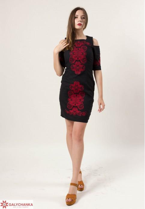 Купити вишиту сукню Кохання (чорна) в Україні від виробника Галичанка фото 1