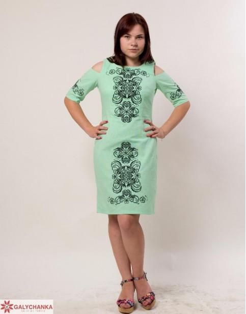 Купити вишиту сукню Кохання (ментол) в Україні від виробника Галичанка фото 1