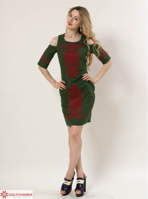 Купити вишиту сукню Кохання (зелене) в Україні від виробника Галичанка фото 1