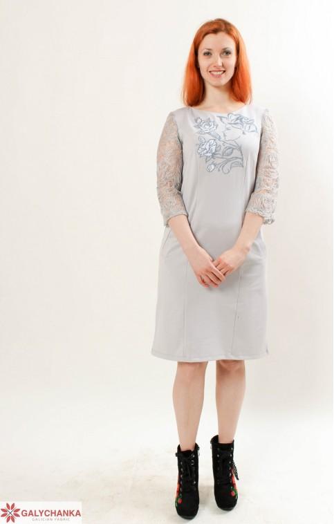 Купити вишиту сукню Королева квітів (сіра з сірим) в Україні від виробника Галичанка фото 1