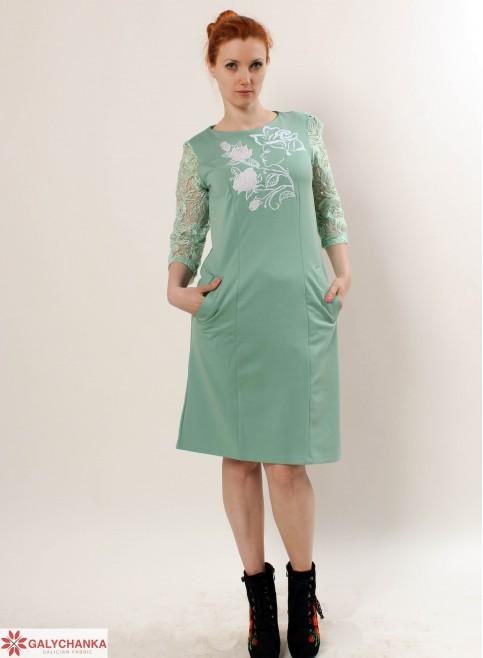 Купити вишиту сукню Королева квітів (ментол) в Україні від виробника Галичанка фото 1