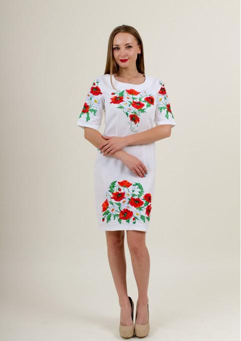 Купити вишиту сукню Квітуче літо (біла) в Україні від виробника Галичанка фото 1