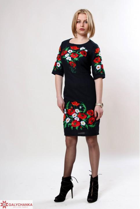 Купити вишиту сукню Квітуче літо (синя) в Україні від виробника Галичанка фото 1