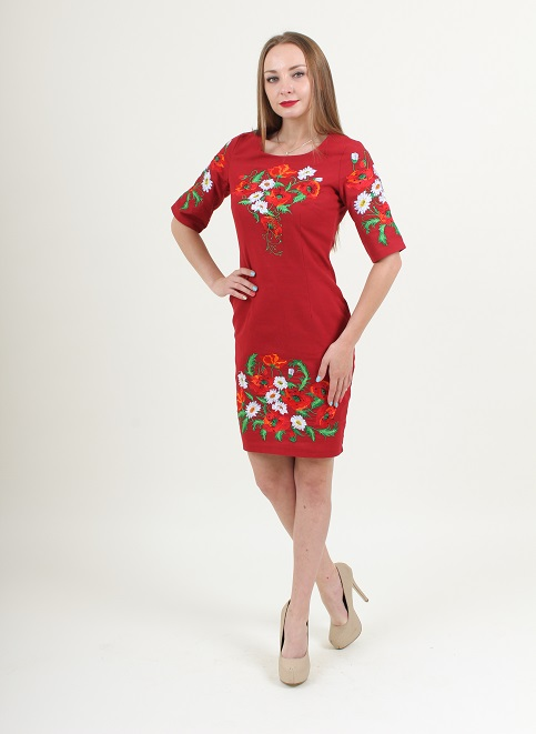 Купити вишиту сукню Квітуче літо (вишневе) в Україні від виробника Галичанка фото 1