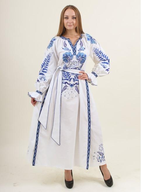 Купити вишиту сукню Либідь (біла) в Україні від виробника Галичанка фото 1