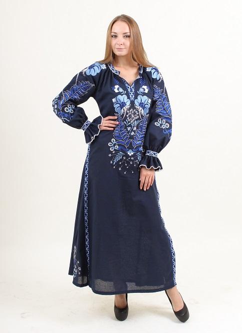 Купити вишиту сукню Либідь (синя) в Україні від виробника Галичанка фото 1