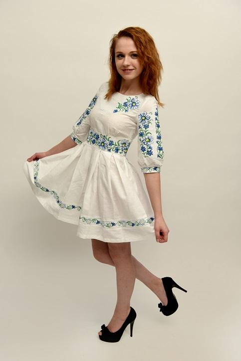 Купити вишиту сукню Лугові ромашки (домотканне) в Україні від виробника Галичанка фото 1