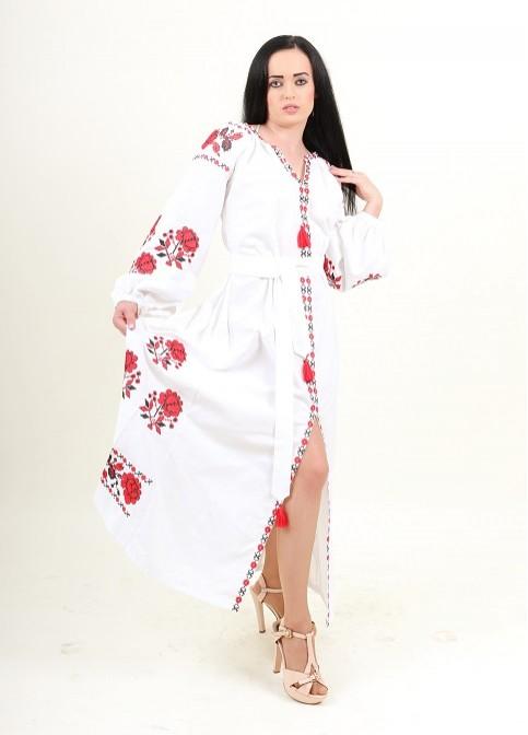 Купити вишиту сукню Паризька троянда (біла з червоним) в Україні від виробника Галичанка фото 1
