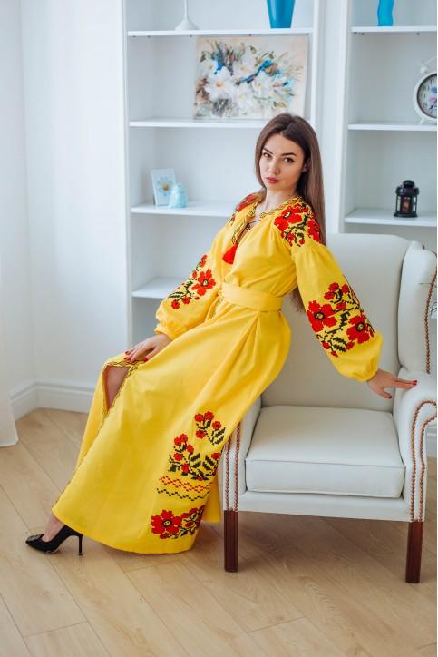 Купити вишиту сукню Паризький букет (жовте) в Україні від виробника Галичанка фото 1