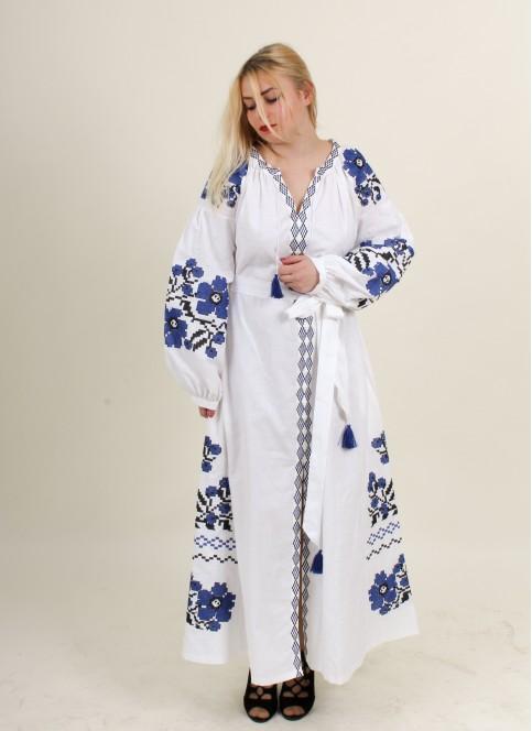 Купити вишиту сукню Паризький букет (білий з синім) в Україні від виробника Галичанка фото 1